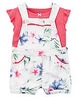 Комплект Carter's на лето 2 в 1: комбинезон с шортами и футболка для девочки (6 мес)