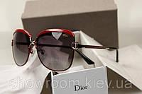 Женские брендовые солнцезащитные очки (8702) красная оправа, фото 1