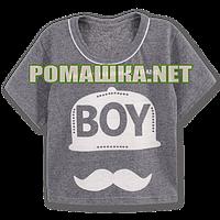 Детская футболка BOY для мальчика р. 110-116 ткань КУЛИР-ПИНЬЕ 100% тонкий хлопок 3647 Серый 116