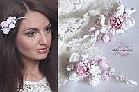 """""""Бело-розовые пиончики"""" заколка для волос с цветами из полимерной глины, фото 1"""