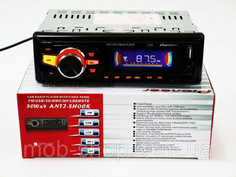 Автомагнитола пионер Pioneer 1270 Usb+Sd+Fm+Aux+пульт (4x50W)