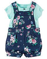Комплект Carter's на лето 2 в 1: комбинезон с шортами и футболка для девочки (12 мес)