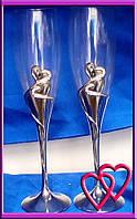 """Свадебные бокалы на металлической ножке """"Родные сердца"""""""