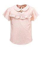 Блузка с рюшей на короткий рукав для девочек