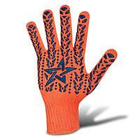 Перчатки рабочие трикотажные ПВХ, Звезда Долони, оранжевые, 7кл, 10 размер