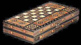 """Набір подарунковий з шахів, нард та шашок """"Antique"""" 39,5*21*6.8см з дерева, світлий дуб"""