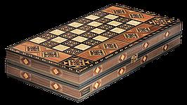 """Набір подарунковий з шахів, нард та шашок """"Antique"""" 49*25,4*8см з дерева, світлий дуб"""