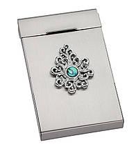"""Візитниця """"Barocco"""", металева, з натур.каменем, в подарунковій упаковці"""