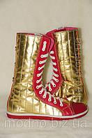 Ботинки женские IK-303 (золото+красный), фото 1