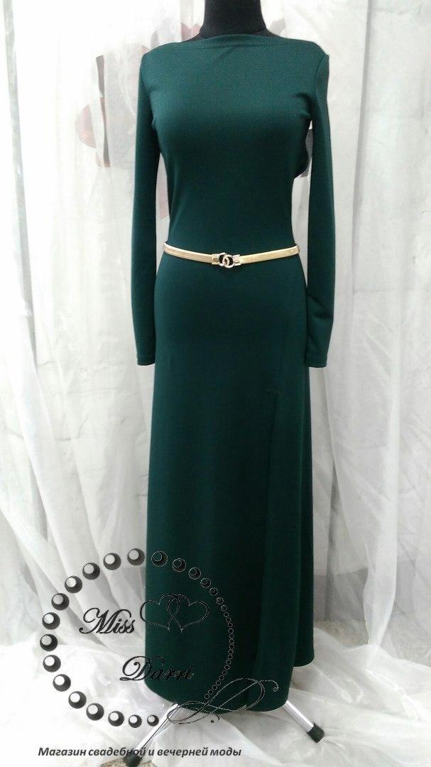 Вечірня сукня темно-зелена довга