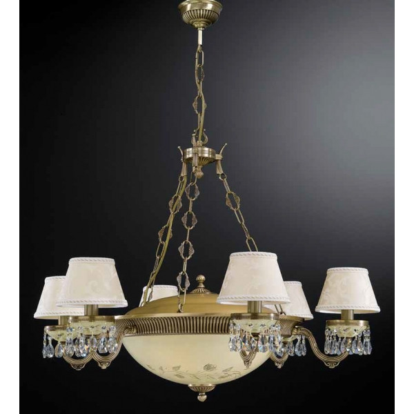 Люстра RECCAGNI ANGELO L 6423/6+4 бронза/стекло/ткань/хрусталь
