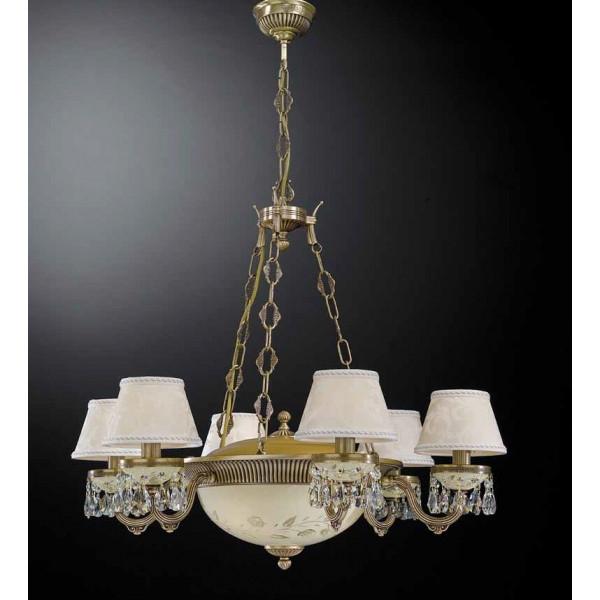 Люстра RECCAGNI ANGELO L 6423/6+3 бронза/стекло/ткань/хрусталь