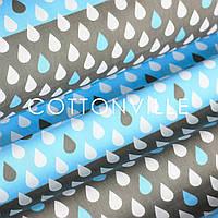 Хлопковая ткань Дождик на голубом