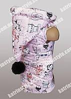Жилетка для девочек с капюшоном и меховым помпоном