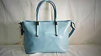 Женская кожаная сумка Furla голубого цвета