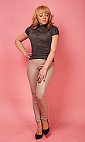 Модные лосины из эко-кожи в бежевом цвете 42-50 размера