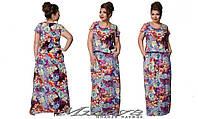 Летнее платье штапель цветочный принт размер 50- 56