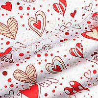 Хлопковая ткань Сердечки с крыльями (0.60м остаток)