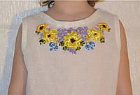Детская льняная блузка вышитая лентами
