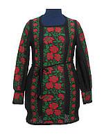 Туника вязаная Розы красные с зеленым листьям (черное х/б)