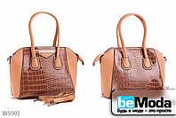 Модная женская сумка Kiss me khaki из экокожи под кожу крокодила  хаки