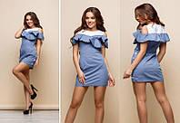 Платье женское короткое из поплина декорировано пуговицами P6028