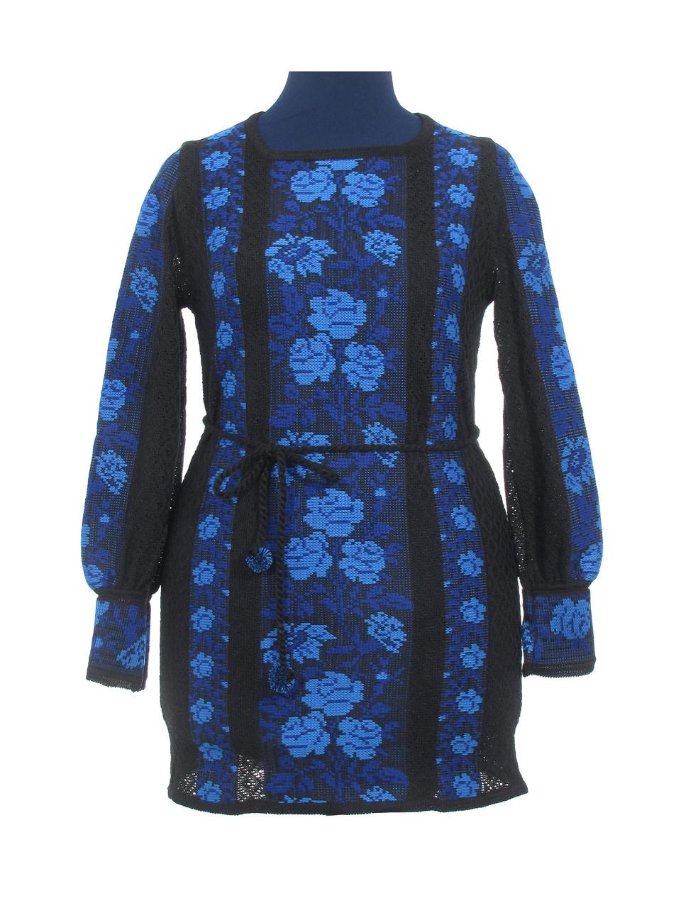 Туника вязаная Розы синие (черное х/б)