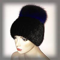 """Меховая шапка из ондатры  """"Бон"""" (чёрная с синей чернобуркой), фото 1"""