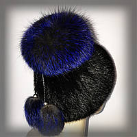 """Меховая шапка из ондатры с синей чернобуркой """"Бон"""" ( Модный цвет ELECTRIC blue)"""