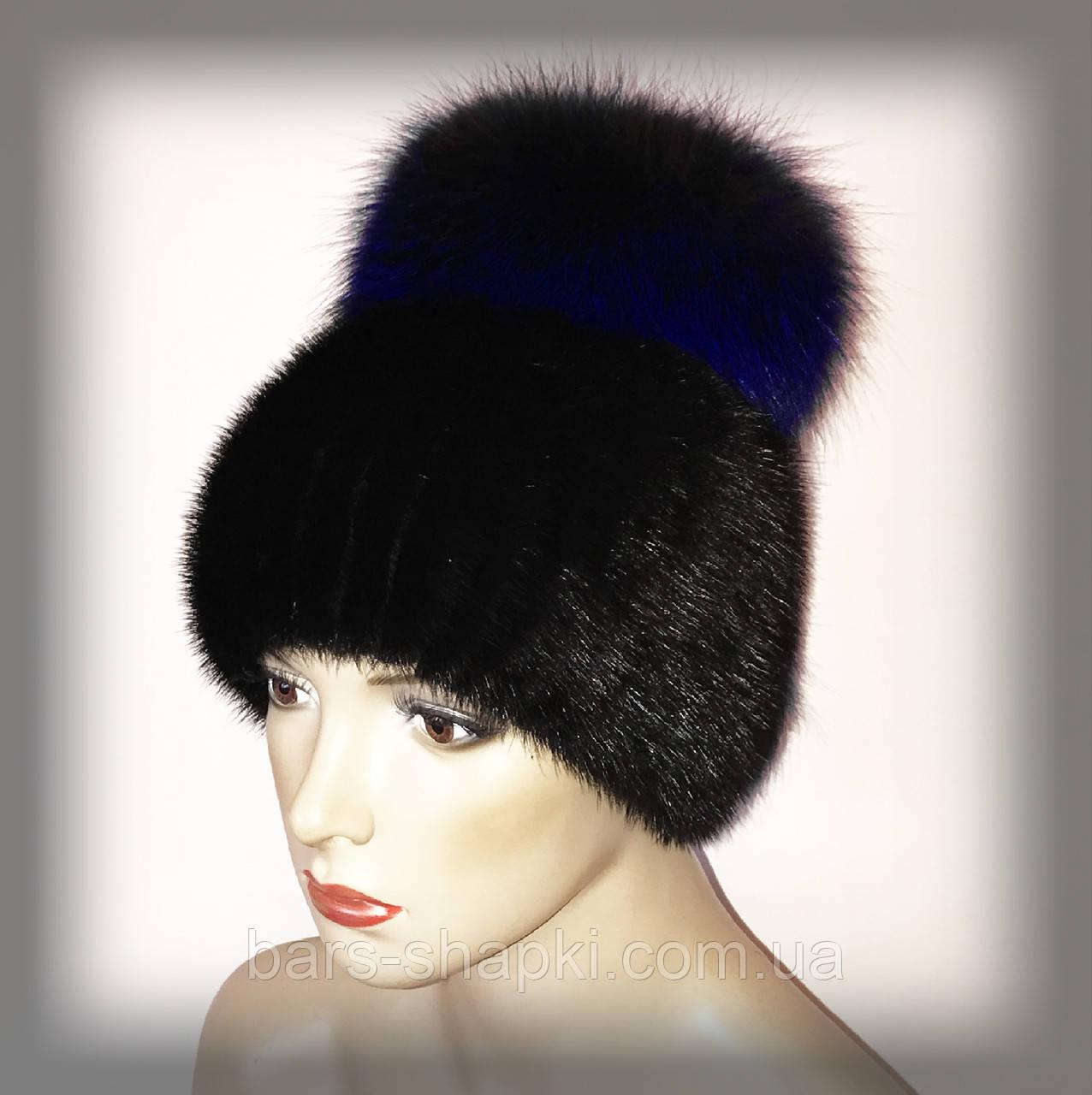 """Меховая шапка из ондатры с синей чернобуркой """"Бон"""" (ELECTRIC blue)"""