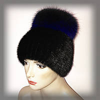 """Меховая шапка из ондатры с синей чернобуркой """"Бон"""" (ELECTRIC blue), фото 1"""