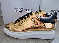 Кожаные кроссовки Alexander McQueen , Маквин, золотого цвета, золотой цвет, отражение, Prada, оригинал