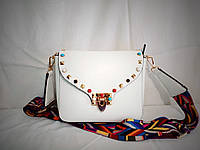 Женская наплечная сумочка-клатч белого цвета