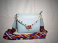 Женская наплечная сумочка-клатч голубого цвета