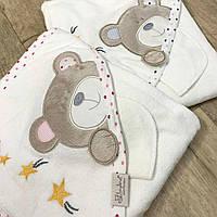 """Махровое полотенце с уголком и рукавичкой """"Мишка"""" молочно-розовое"""