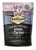 Корм Carnilove Salmon&Turkey Puppy для щенков всех пород с лососем и индейкой, 1,5 кг