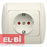 Розетка с заземлением с шторками белая EL-BI Zirve Fixline 501-010201-243
