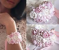 """""""Бело-розовые пиончики"""" браслет с цветами из полимерной глины, фото 1"""