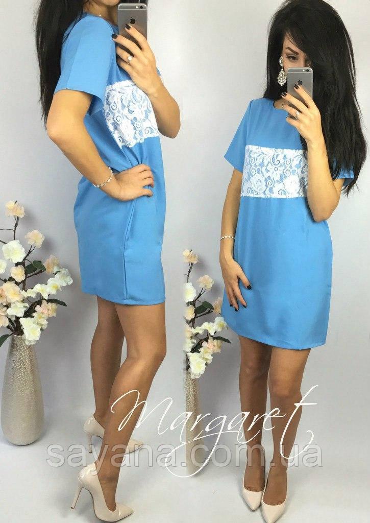 Красивое женское платье с кружевом в расцветках. Г-203-0417