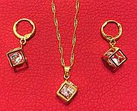 """Набор украшений (серьги + кулон с цепочкой) """"Gold Cube"""" (бижутерия)"""