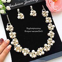"""Набор """"Ясмин"""" серьги и ожерелье, золотистая основа."""