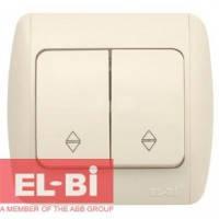 Выключатель 2-клавишный проходной с подсветкой бежевый EL-BI Zirve Fixline 501-010301-211