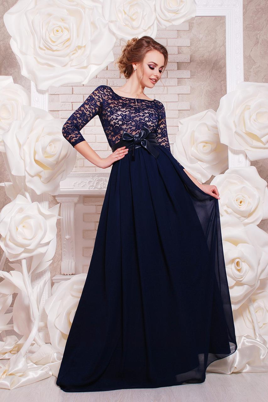 Длинное вечернее платье на выпускной темно-синее