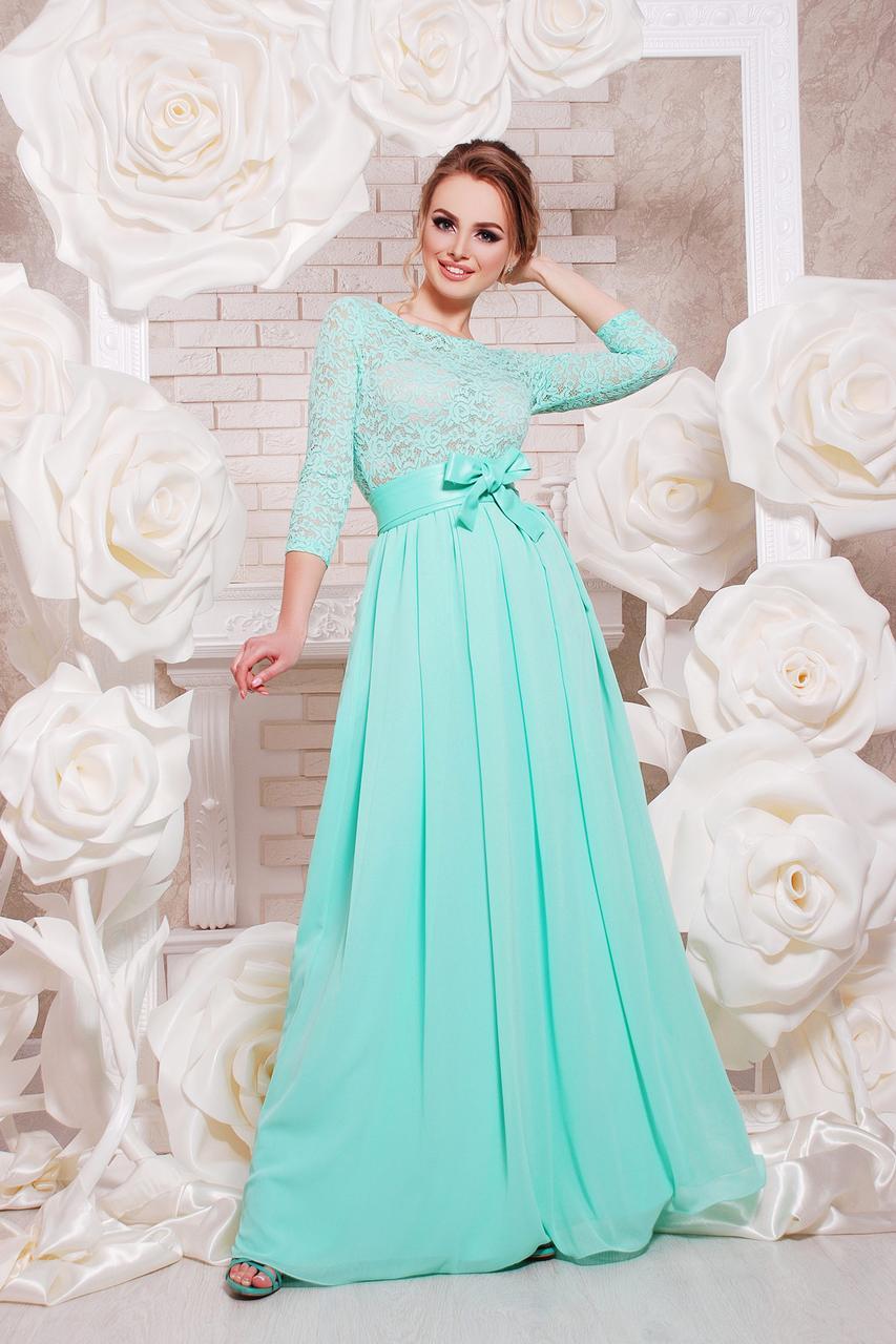 Длинное платье на выпускной цвет мята