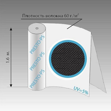 Агроволокно чёрное 60G/M 60уф ( 1,6*100м )