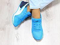Кроссовки женские сетка цвет: ярко-голубой материал: текстиль