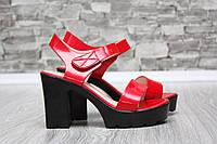 Женские босоножки красного цвета на тракторной подошве и каблуке, 37 39 40 41р.