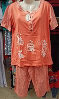 Пижама женская трикотажная большого размера цветочек