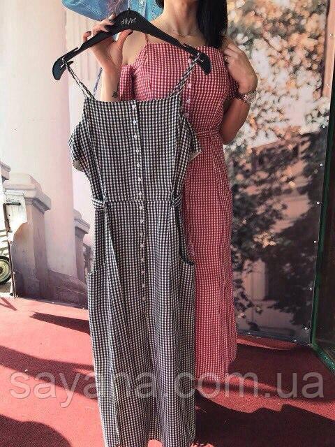Женское платье в клетку в расцветках, Турция. Ак-154-0417