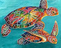 """Акриловий живопис за номерами """"Черепахи"""" полотно 40*50 см без коробки"""